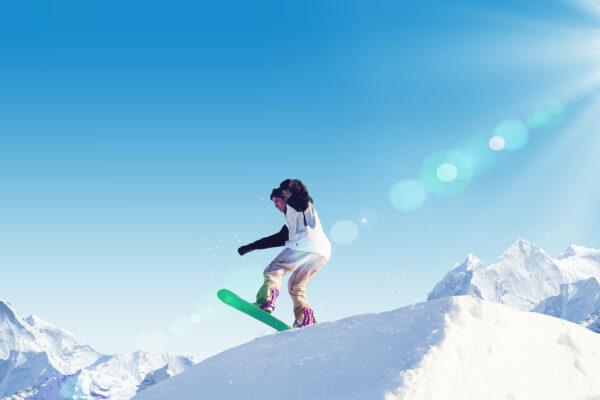 Snowboarder Abfahrt